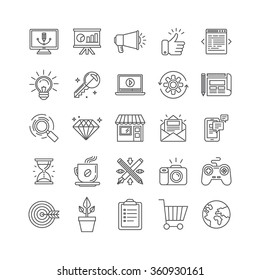 Vector set of 25 icons and signs in mono line style - graphic design, online marketing, branding and website development, internet business pictograms