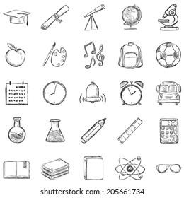 Vector Set of 25 Sketch School Icons