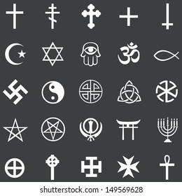 vector set of 25 white religious symbols