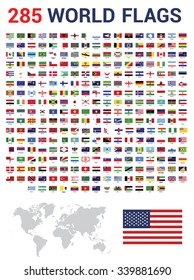Vector set of 285 world Flags of sovereign states with names. Gray color World Map vector illustration