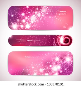 Vector set of 3 banners with glittering and sparkling stars.