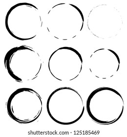 Vector set 3 of grunge circle brush strokes for frames, icons, design elements
