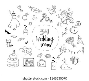 Vector set of 34 cartoon wedding theme icons