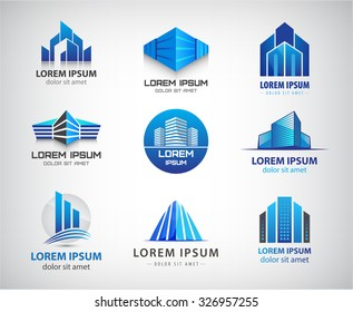 Vector set of 3d blue office buildings logos, houses skyscrapers logos, property icons. Identity.