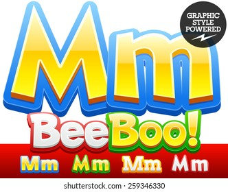 Vector set of 3D colorful children font in cartoon style. Optional different colors. Letter M