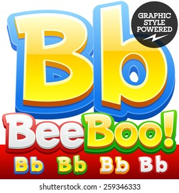 Vector set of 3D colorful children font in cartoon style. Optional different colors. Letter B
