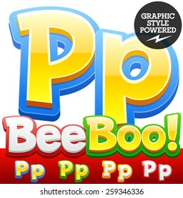 Vector set of 3D colorful children font in cartoon style. Optional different colors. Letter P