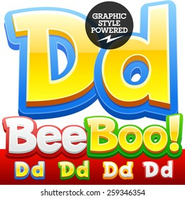 Vector set of 3D colorful children font in cartoon style. Optional different colors. Letter D