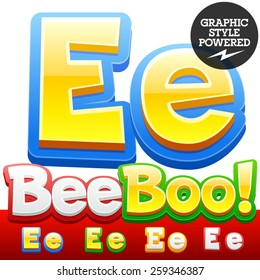 Vector set of 3D colorful children font in cartoon style. Optional different colors. Letter E
