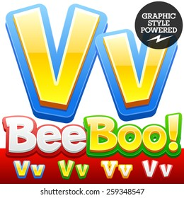 Vector set of 3D colorful children font in cartoon style. Optional different colors. Letter V