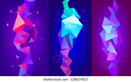 Vector set of 3d geometric shapes. Facet vertical banners, posters. Trinagle multicolot concept, background