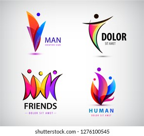 Vector set of 3d multicolor men, human, people together logos.