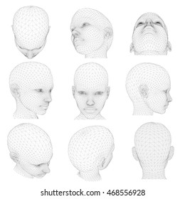 Vector Set of 3D polygonal girl head from different angles. Vector set illustration 3D. 3D Head girl different angles. Vector poly head 3D. Polygonal head girl 3D. Set with polygonal head angles 3d.