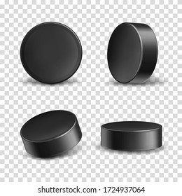 Vector set of 3d realistic black rubber pucks for play ice hockey isolated on transparent background. Hard round disk, sport equipment, inventory for winter team game on skating rink