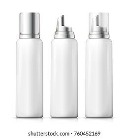 Vector set - 3d realistic foam bottles with silver and plastic caps. Mock-up for product package branding.