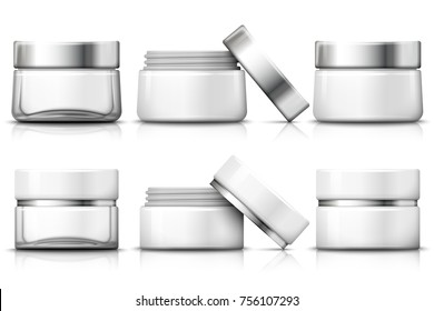 Vector set of 3d realistic jar for moisturizing cream. Transparent glass, plastic white, open jar. Mock-up for product package branding. On white background.
