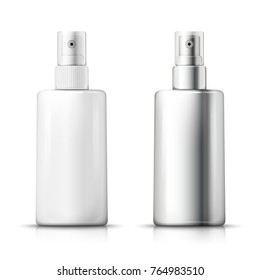 Vector set - 3d realistic plastic and metallic spray bottles with transparent cap, with reflection. Mock-up for product package branding.