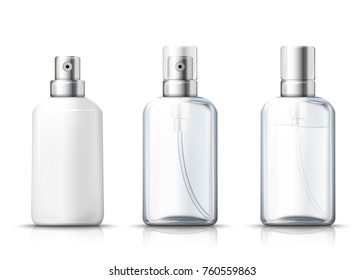 Vector set - 3d realistic spray bottles with silver and plastic caps. Mock-up for product package branding.