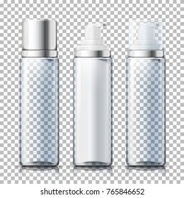 Vector set - 3d realistic transparent foam bottles with silver and plastic caps. Mock-up for product package branding.