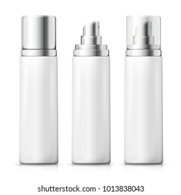 Vector set - 3d realistic white spray bottles with silver and transparent caps. Mock-up for product package branding.