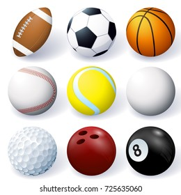 Vector set of 3d sport ball icons isolated on white background