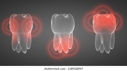 vector set of 3d teeth on a dark background. toothache.
