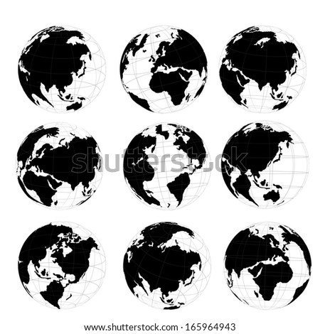 Vector Set 3 D World Map Globe Stock Vector Royalty Free 165964943