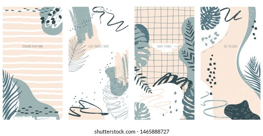 Vector set of 4 abstract painting background with monster leaves and palm trees dypsis with motivational inscription. Format to poster, greeting card, smartphone wallpapers, stories