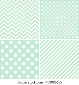 Vector set of 4 background patterns. Great for greeting cards, baby cards, baby shower.