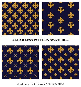 Vector set of 4 fluer de lis seamless repeat pattern swatches in dark blue and yellow colors. Textile design.