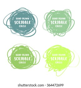 Vector set of 4 hand drawn colorful scribble logo design elements