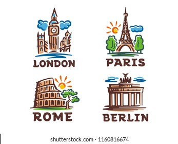 Vector set of 4 logos. Illustrations of buildings and tourist attraction of European cities.