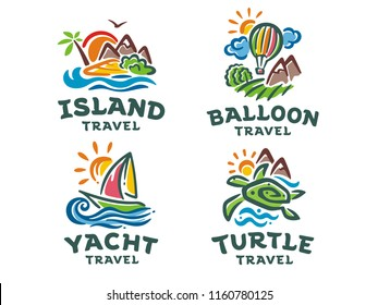 Vector set of 4 logos. Travel illustration templates.