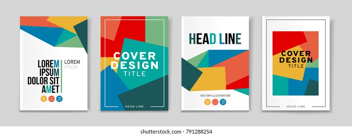 Vector set of 4 pages with vivid tones. Creative business brochure cover template for banner, annual report, poster, leaflet, book, magazine, ad and etc.. Vector EPS 10