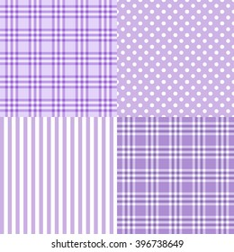 Vector set of 4 purple patterns (striped, plaid, spotted) . Good for Baby Shower, Birthday, Mother's Day, Father's Day, Christmas, Scrapbook, Greeting Cards, Gift Wrap, surface textures.