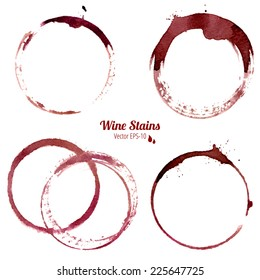 vector set of 4 round watercolor wine stains isolated on white background