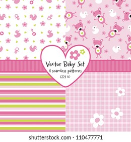 Vector set of 4 seamless baby girl background patterns. Great for greeting cards, baby cards, baby shower, baptism, christening, scrap booking, gift wrapping paper. See my folio for other  versions.