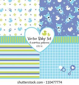Vector set of 4 seamless baby boy background patterns. Great for greeting cards, baby cards, baby shower, baptism, christening, scrap booking, gift wrapping paper. See my folio for other  versions.
