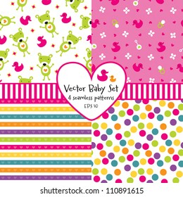 Vector set of 4 seamless baby background patterns. Great for greeting cards, baby cards, baby shower, baptism, christening, scrap booking, gift wrapping paper. See my folio for other  versions.