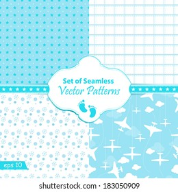 Vector set of 4 seamless background patterns blue pastel tones.