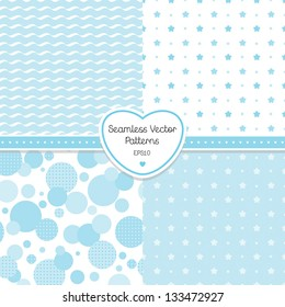 Vector set of 4 seamless blue background patterns. Good for Baby Shower, Birthday, scrapbook, greeting cards, gift wrap, surface textures. See my folio JPEG versions and for related pattern sets.
