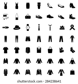 Vector Set of 49 Black Clothes Icons. Mens and Womens Fashion. Casual, Sport, Bussines and Evening Wear. Footwear. Clothes. Accessories. Overcoat.