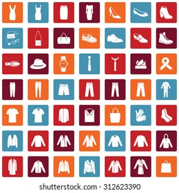 Vector Set of 49 Clothes Icons. Mens and Womens Fashion. Casual, Sport, Bussines and Evening Wear. Footwear. Clothes. Accessories. Overcoat.