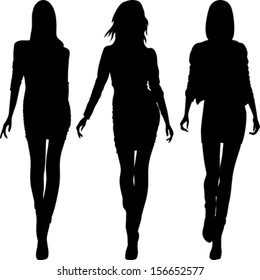 vector set 5 silhouette of fashion girls top models