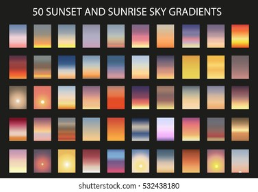 Vector set of 50  sunset and sunrise sky gradients. A set of backgrounds.