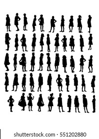 vector set of 55 standing girls silhouette