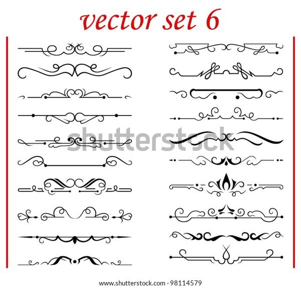 Vector Set 6 Calligraphic Design Elements Stock Vector