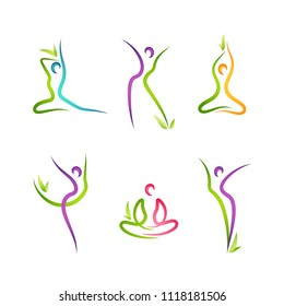 Vector set of 6 colorful figures with plant elements
