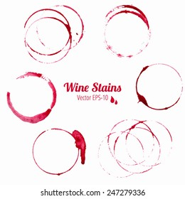 vector set of 6 red round watercolor wine stains isolated on white background