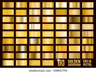 Vector set of 60 gold gradients. Square textured bright metal shiny. Abstract golden design.